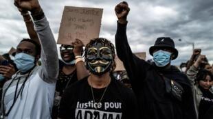 Manifestation «Black Lives Matter» à Lyon, en France, le 6 juin 2020, en mémoire à Adama Traoré, un jeune Noir mort lors d'une interpellation policière en 2016.