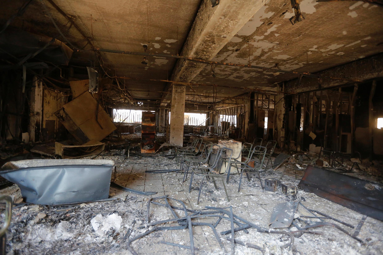Un bâtiment de l'Université de Mossoul ravagé par les combats entre le groupe EI et l'armée irakienne, le 14 janvier 2017.