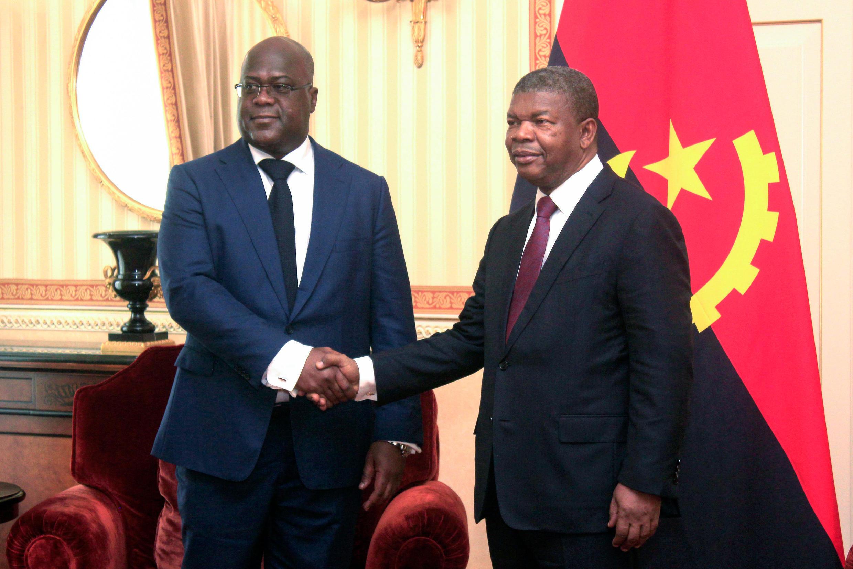 Félix Tshisekedi, presidente da RDC, recebido em Luanda pelo chefe de Estado angolano João Lourenço a 5 de Fevereiro de 2019.