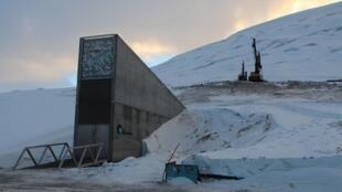 نمای بیرونی خزانه جهانی بذر در سوالبارد نروژ در نزدیکی قطب شمال