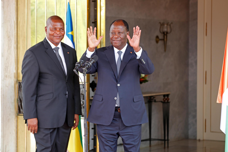 Shugaban Jamhuriyyar Afrika ta Tsakiya Faustin Archange Touadera tare da Shugaban Ivory Coast Alassane Ouattara
