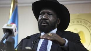 Le président du Soudan du Sud, Salva Kiir, à JUba, le 20 janvier 2014.