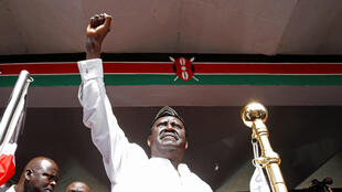 Madugun 'yan adawan Kenya Raila Odinga a lokacin da ya ke rantsar da kansa a birnin Nairobi