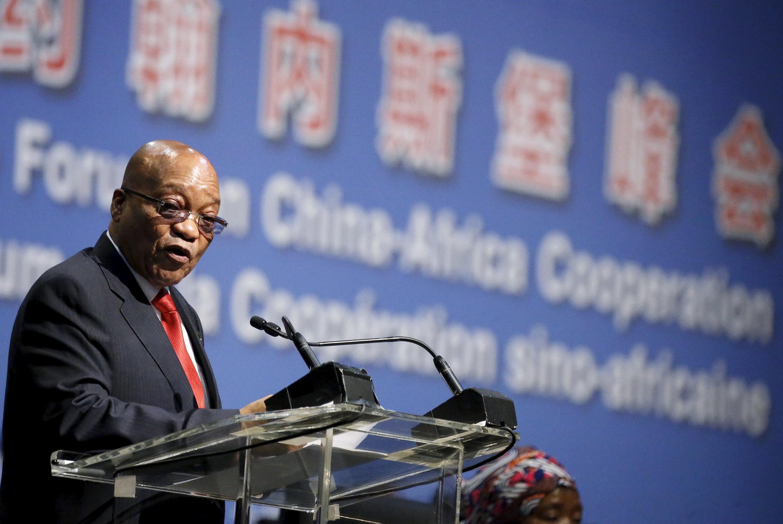 Jacob Zuma lors du sommet Chine-Afrique organisé à Sandton en Afrique du Sud, le 4 décembre 2015.