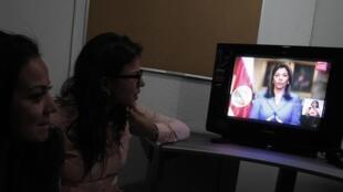 Laura Chinchilla, la présidente costaricienne, lors d'une intervention télévisée ce jeudi 16 mai, après la démission du ministre de la Communication.