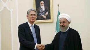 O chanceler britânico Philip Hammond durante encontro com o presidente iraniano Hassan Rohani em Teerã, em 24 de agosto de 2015.