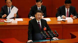 Chủ tịch Trung Quốc Tập Cận Bình phát biểu bế mạc kỳ họp Quốc Hội tại Đại lễ đường Nhân dân, Bắc Kinh, ngày 20/03/2018.
