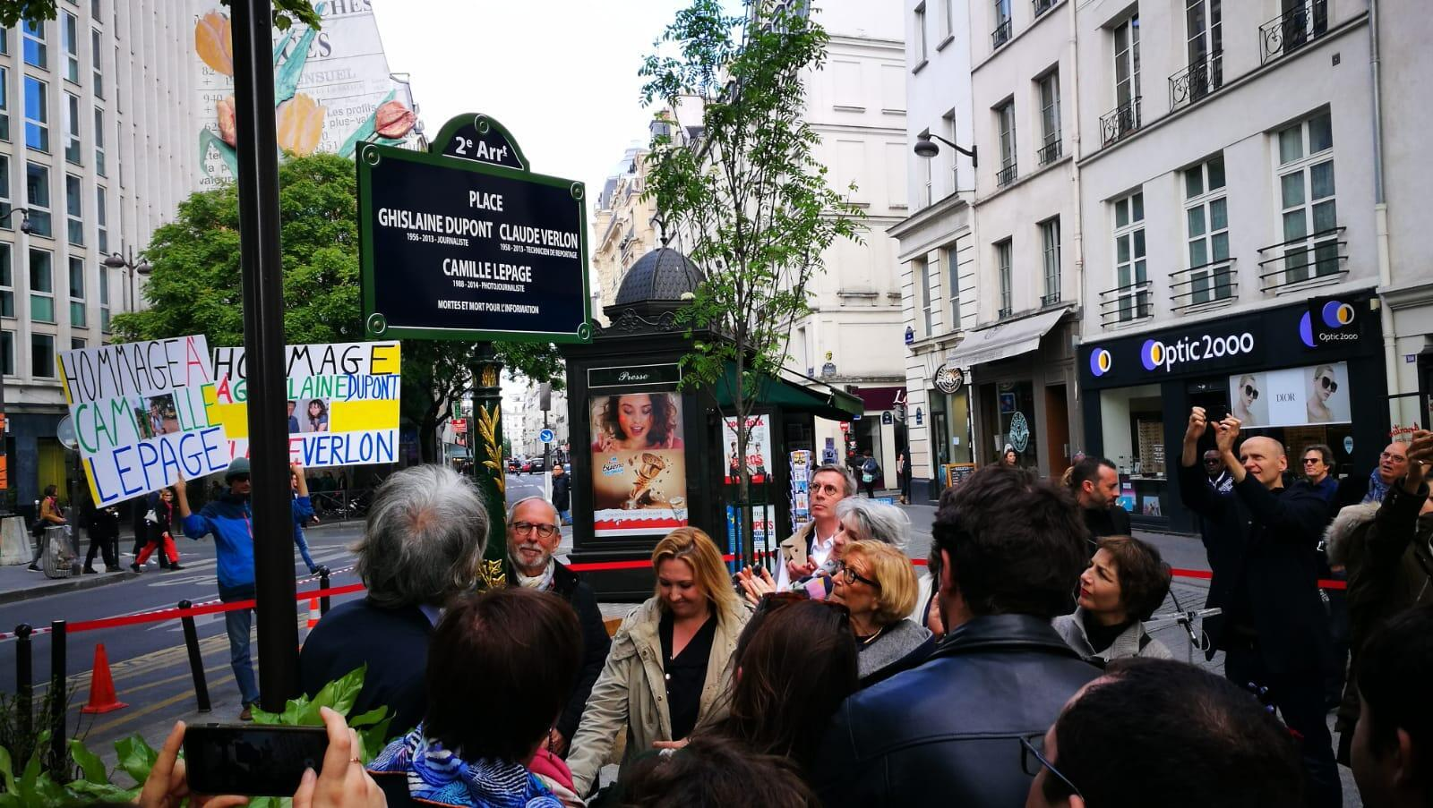In homage to murdered journalists, this plaza  in Paris has been renamed after Ghislaine Dupont, Claude Verlon and Camille Lepage, inaugurated on 3 May, 2019.