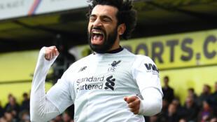 El egipcio Mohamed Salah tras marcar su 29° gol en la Premier League con Liverpool en el Crystal Palace.