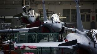 Rafale jet fighter in the factory of French aircraft manufacturer Dassault Aviation near Bordeaux, southwestern France, January 2014.
