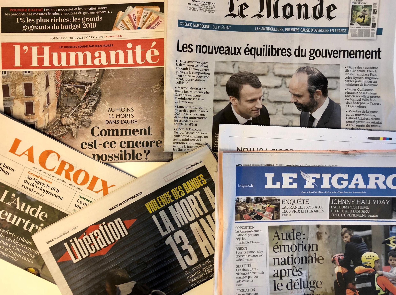 Primeiras páginas dos jornais franceses de 16 de outubro de 2018