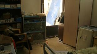 Consultório no hospital Al Qods, situado em bairro controlado por rebeldes, destruído em ataque das forças do governo
