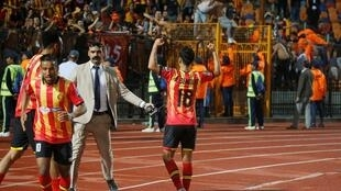 Lors du match de football entre Zamalek et l'Espérance Tunis, le 28 février 2020 au Caire.