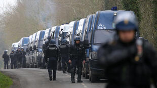 Police at the Notre-Dame-des-Landes site on Friday