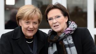 La chancelière allemande Angela Merkel et le Premier ministre polonais Ewa Kopacz à Krzyzowa, en Pologne, le 20 novembre 2014.