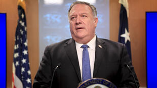 Secretary of State Mike Pompeo tells a news conference that the United States is offering rewards aimed at stopping election interference