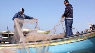 Pescadores na Faixa de Gaza
