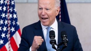 El presidente de Estados Unidos, Joe Biden, pronuncia un discurso sobre el derecho al voto en Filadelfia el 13 de julio de 2021.