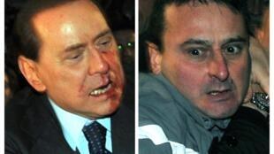 Le Premier ministre italien Silvio Berlusconi et son agresseur, à Milan, le 13 décembre
