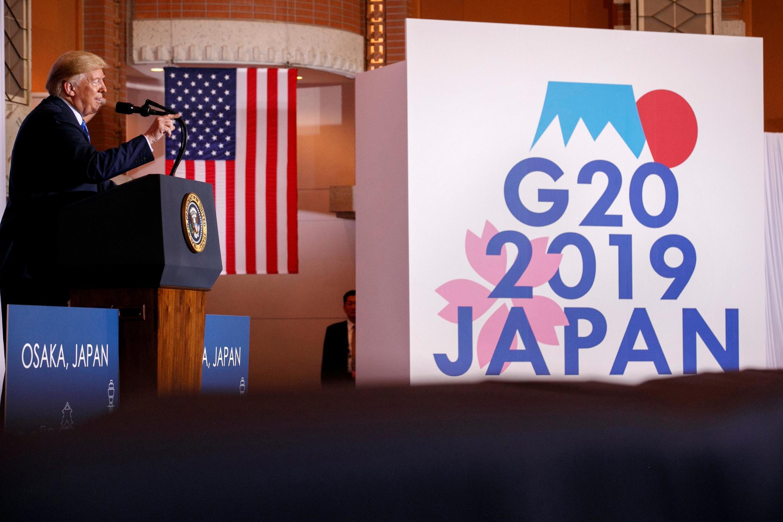 美國總統特朗普在大阪二十強峰會上,2019年6月29日。