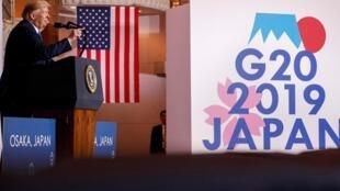 Le président américain Trump, lors de sa conférence de presse de clôture du G20 d'Osaka.