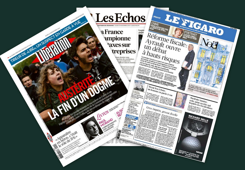 Capa dos jornais Libération, Le Figaro, e Les Echos desta quinta-feira, 21 de novembro