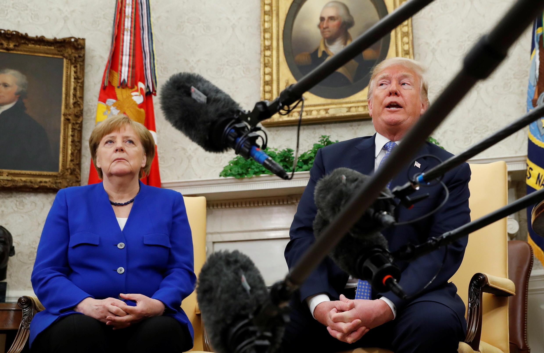 Канцлер Германии Ангела Меркель и президент США Дональд Трамп в Белом доме, 27 апреля 2018 года.