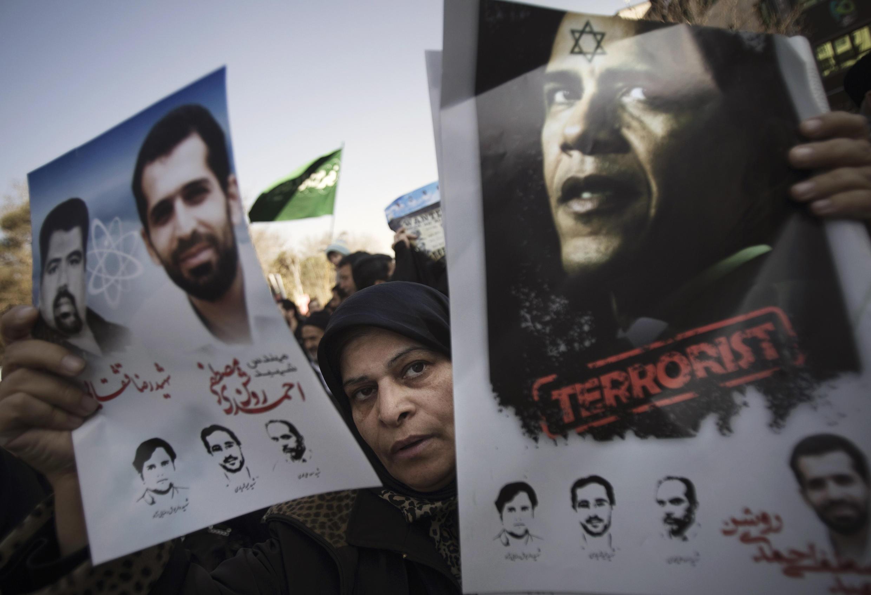 Funeral del científico Mostafá Ahmadi Roshan, el 13 de enero de 2012.