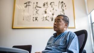 Mmiliki wa vypmbo vya habari vinavyounga mkono demokrasiaJimmy Lai, katika makao makuu ya gazeti lake la Next Digital huko Hong Kong.
