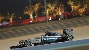 Mercedes Benz's Lewis Hamilton took the pole position for Sunday's Bahrain Grand Prix ahead of Ferrari's Sebastian Vettel