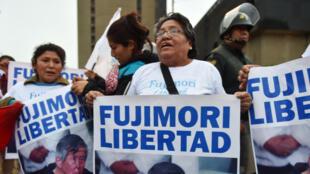 Partidarios del ex presidente peruano Alberto Fujimori, en Lima, el pasado 22 de julio de 2016.