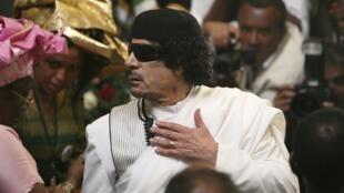 Le colonel Kadhafi, au sommet de l'Union africaine, à Addis-Abeba, le 31 Janvier 2010.