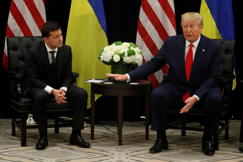 Volodymyr Zelensky et Donald Trump en conférence de presse à New York, le 25 septembre 2019, en marge de l'Assemblée générale de l'ONU.