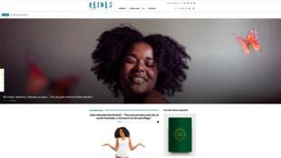 La page d'accueil du site «Reines des temps modernes» montre la couverture du livre du même nom, en bas à droite.