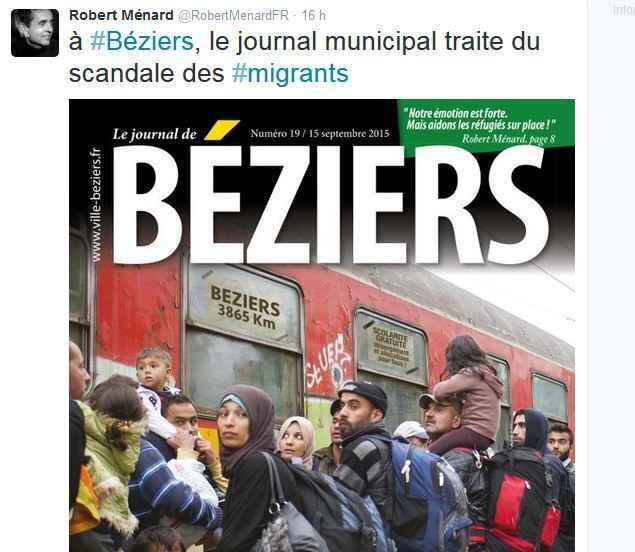 The photo at the centre of the row between AFP and Béziers mayor Robert Ménard