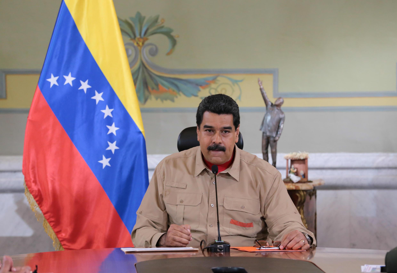 O presidente da Venezuela, Nicolas Maduro, durante reunião ministerial, em Caracas.