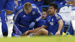 Chelsea's Diego Costa receives treatment during a match between Chelsea v Everton at the Barclays Premier League at Stamford Bridge, January 16 2016