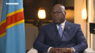 Rais wa DRC Félix Tshisekedi akihojiwa na kituo cha televisheni cha Ufaransa TV5 pia gazeti la Le Monde, september 22 2019.