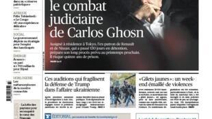 A edição do Le Figaro desta segunda-feira (18) destaca o caso Carlos Ghosn, que será julgado em 2020 no Japão.