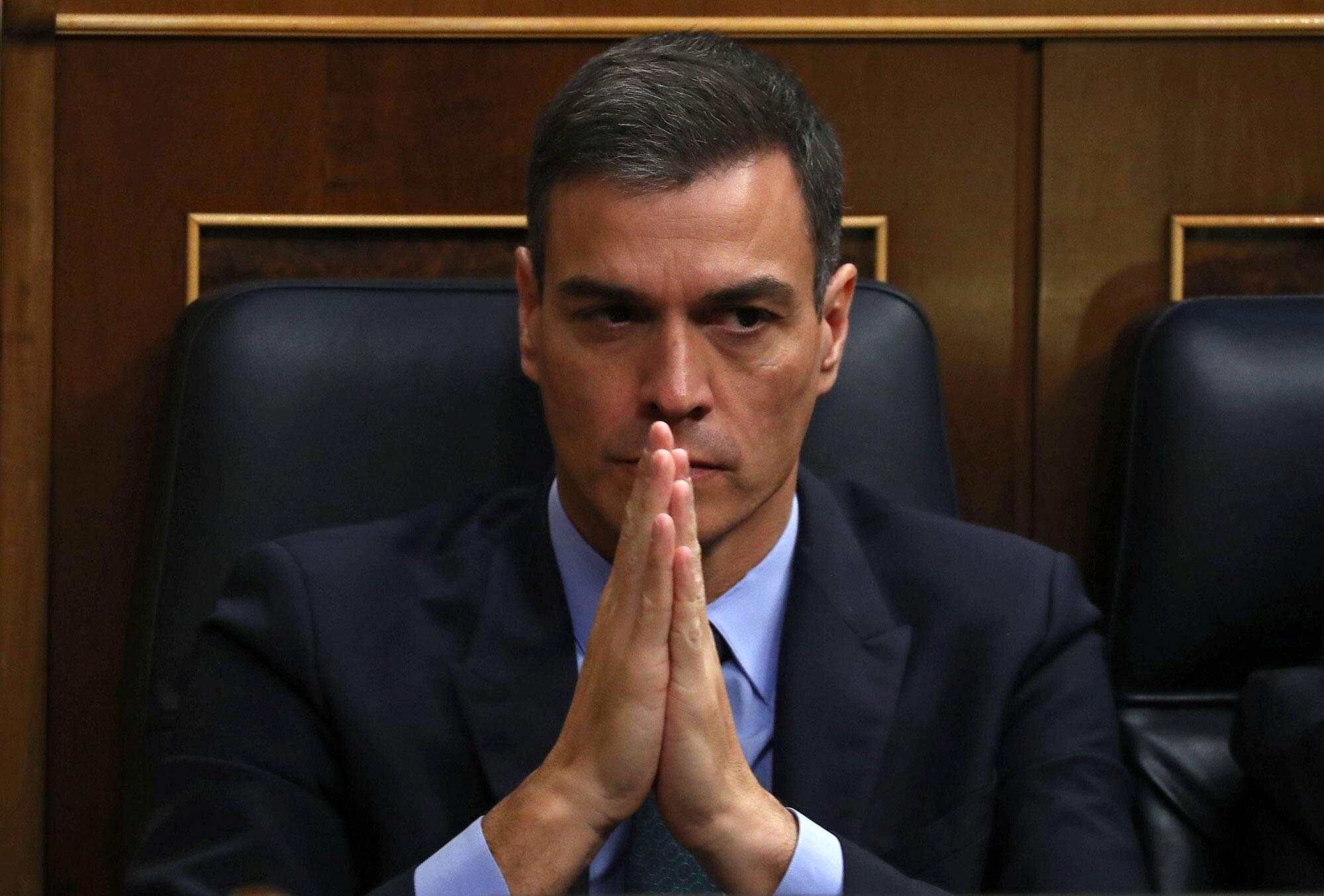 O primeiro-ministro Pedro Sánchez, nesta quarta-feira (13), durante votação na Câmara dos Deputados.