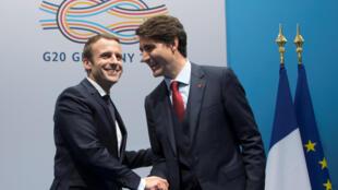 Emmanuel Macron et Justin Trudeau affichent leur complicité lors du G20 à Hambourg, le 7 juillet 2017.
