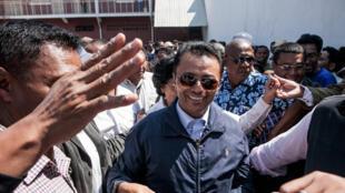 Marc Ravalomanana, lors de son retour à Madagascar, le 13 octobre 2014.