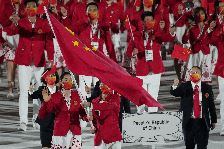 中國代表隊在東京奧運開幕式上,攝於7月23日