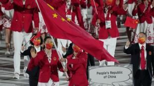 中国代表队在东京奥运开幕式上,摄于7月23日