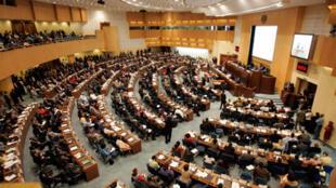 L'hémicycle où siègent les chefs d'Etat de l'Union africaine à Addis-Abeba (2009).