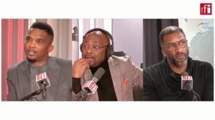 Capture d'écran de l'émission Le débat africain «CAF-FIFA : un match pas si amical» avec Samuel Eto'o et Habib Beye diffusée le 16 février 2020.
