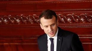 Le président français, Emmanuel Macron, lors de son discours devant le Parlement tunisien, à Tunis, le 1er février 2018.