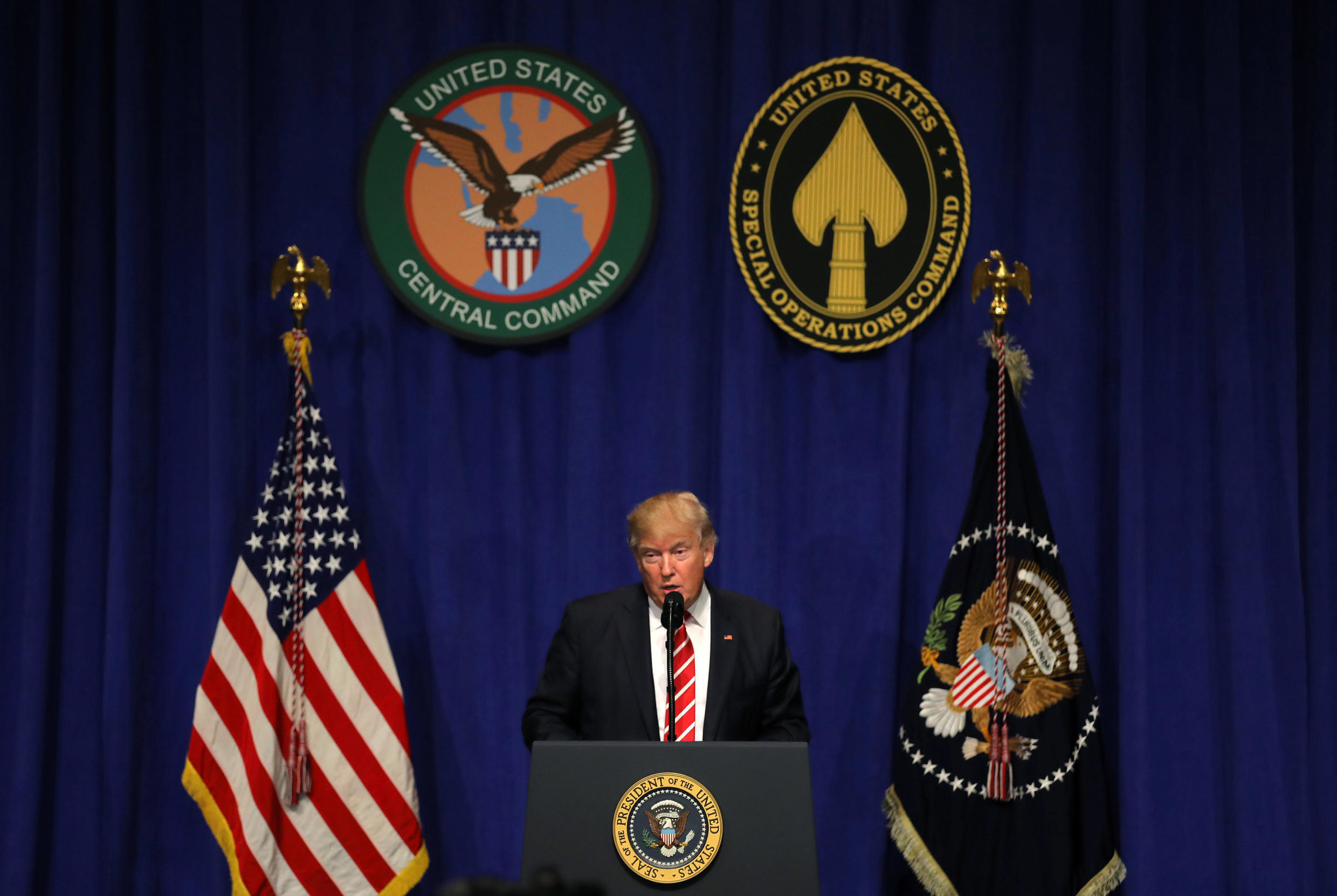 U.S. President Donald Trump speaks to commanders and coalition representatives during a visit to U.S. Central Command and U.S. Special Operations Command at MacDill Air Force Base in Tampa, Florida, U.S., February 6, 2017.