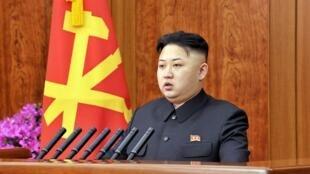 Ông Kim Jong-un đọc diễn văn truyền hình hôm 31/12/2012 (AFP /KCNA)
