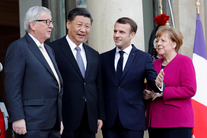 2019年3月26日,法國總統馬克龍在愛麗舍宮迎接到訪的中國國家主席習近平,同時邀請德國總理默克爾和歐盟委員會主席容克共同參加會談。